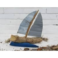 Segelboot aus Treibholz und Tiffanyglas, zur Dekoration, maritime Geschenkidee, Segelschiff zum Träumen Bild 1
