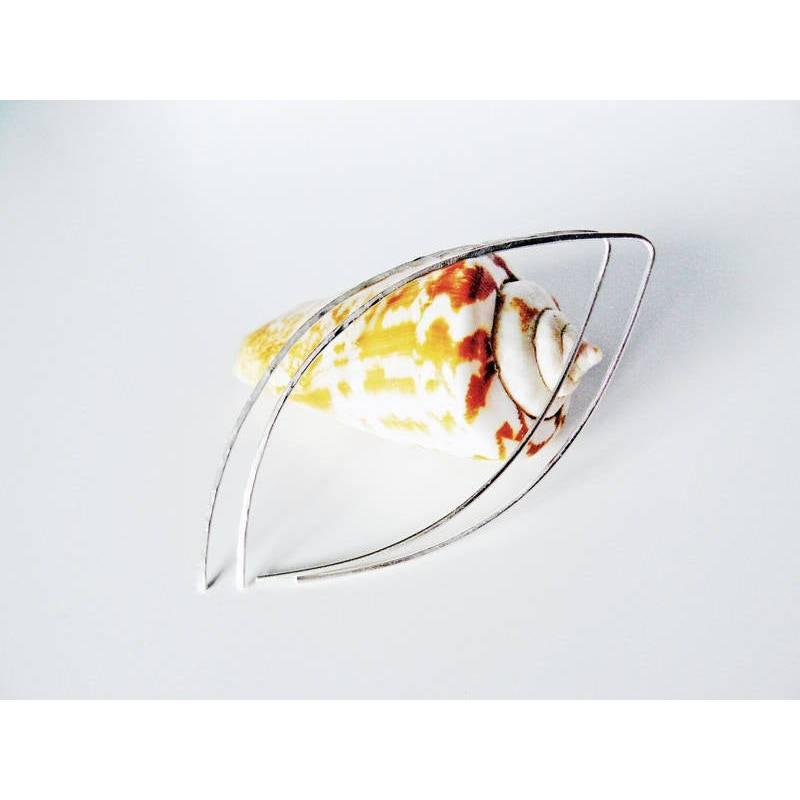 925 Silber Ohrringe gehämmert, minimalistische Ohrringe, offene Creolen, Silberohrringe, moderne Ohrringe, Creolen gehämmert Bild 1