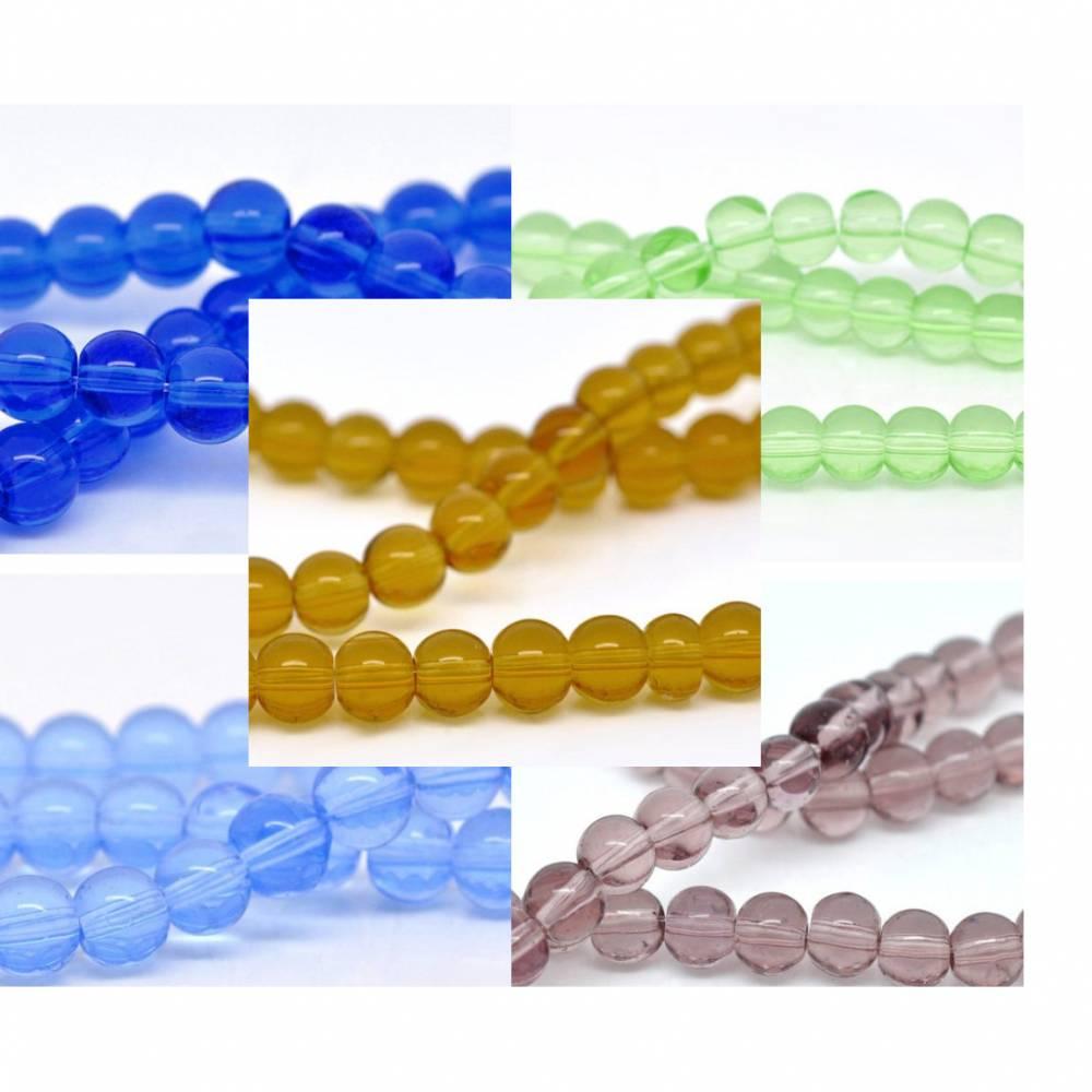 20  Glasperlen, 6mm, rund, hellblau, blau, gelb, grün, lila, Perlen, Schmuckperlen,  11626 Bild 1