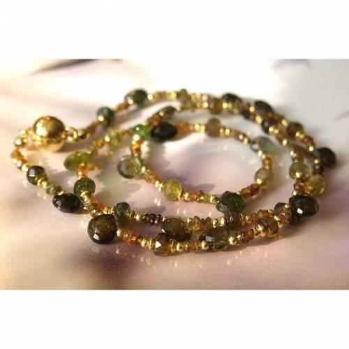 MehrfarbigeTurmalin-Kette, grün-braun-Töne, vergoldetes Silber