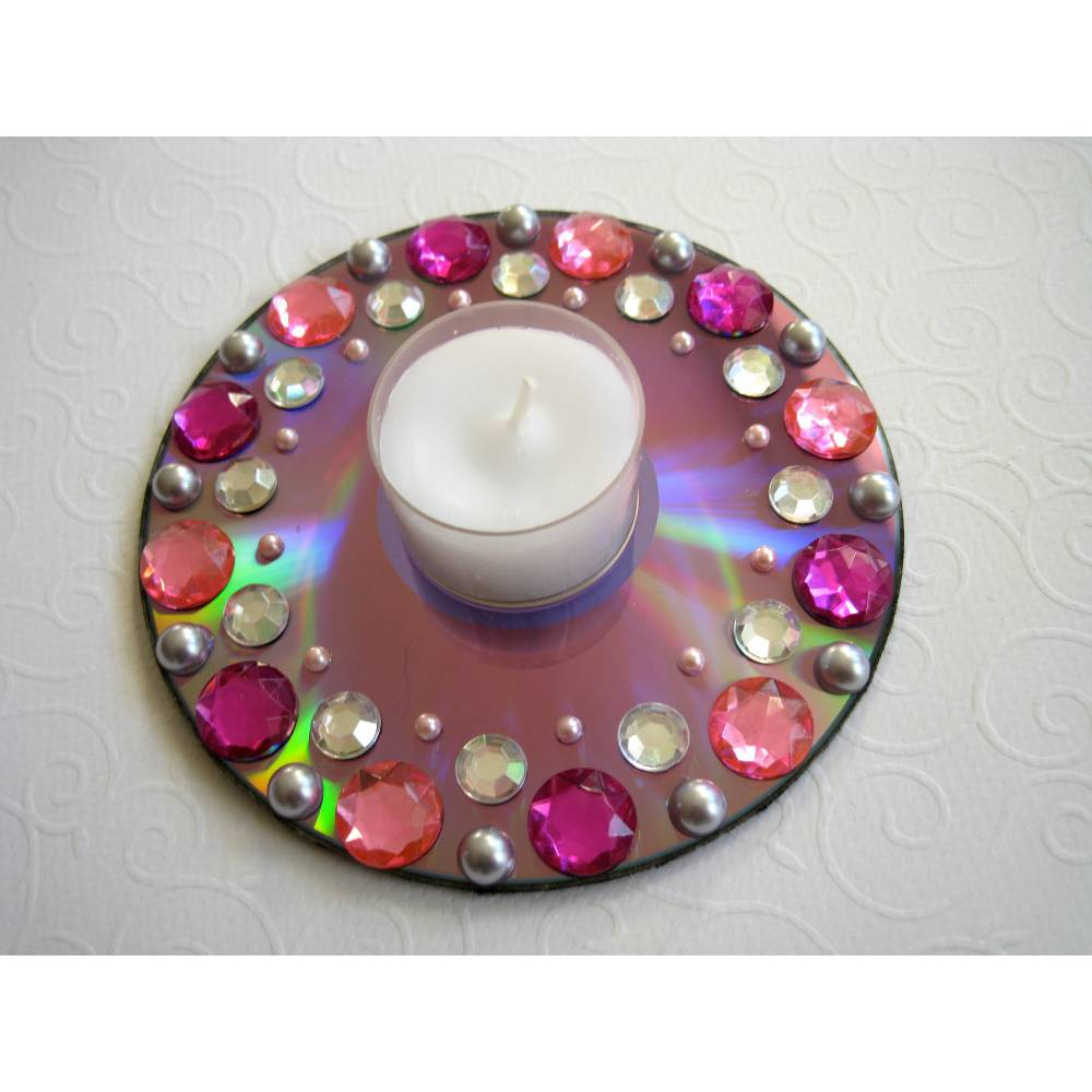 Teelichthalter CD Upcycling rosa pink Bild 1