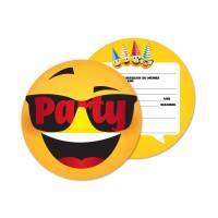 12 Einladungskarten zum Geburtstag - Smiley Face - Coole Partyeinladung für Kids - Einladung Bild 1
