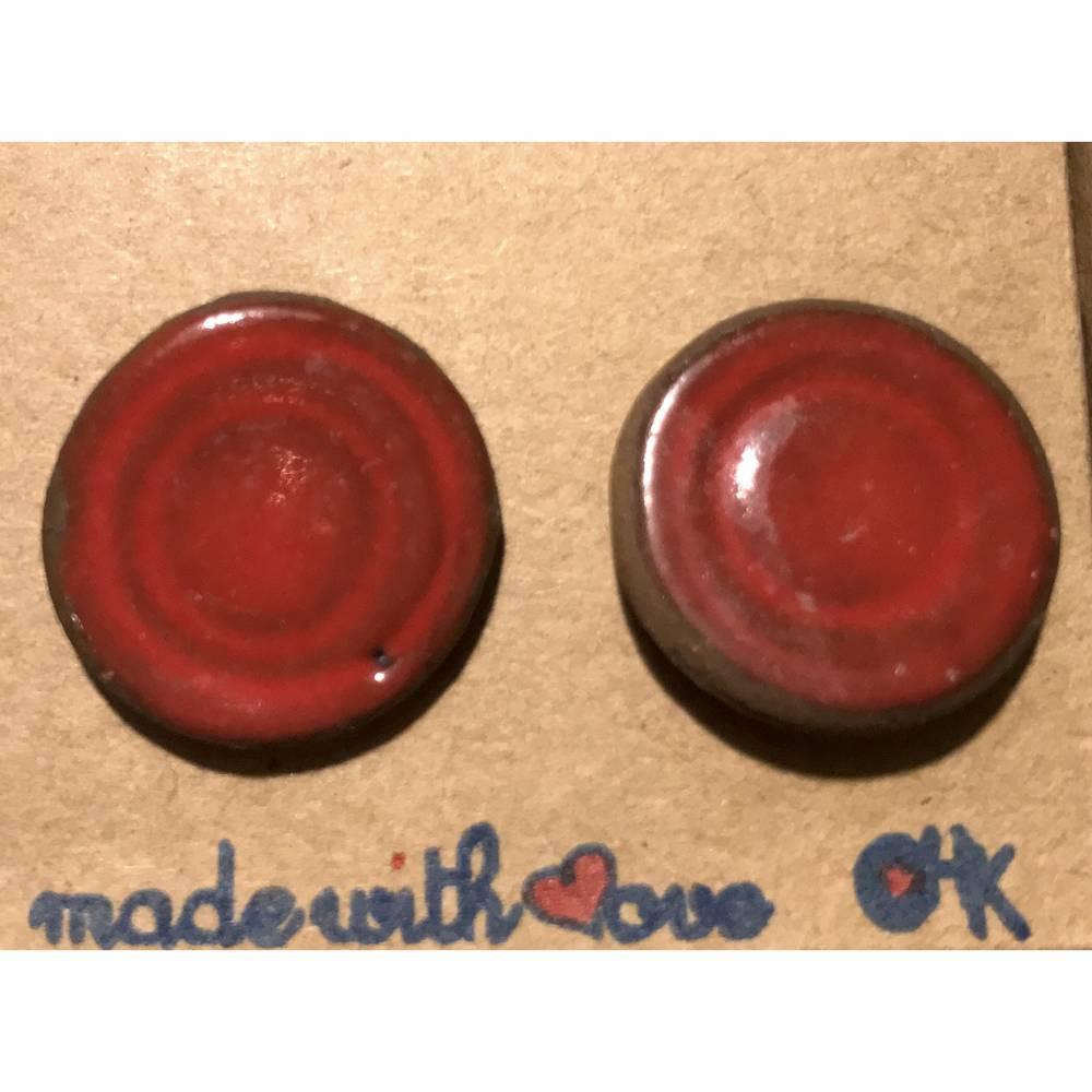 Runde Keramik-Ohrstecker, rot glasiert Bild 1