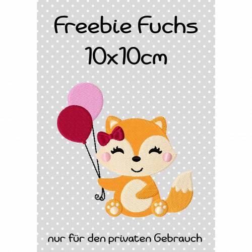 Freebie -Kostenlose Stickdatei Fuchs 10x10cm