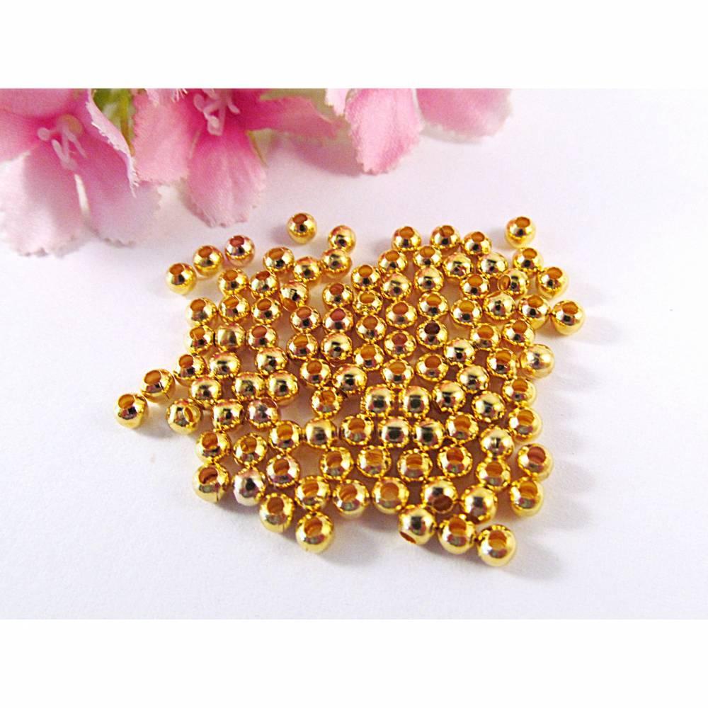 Metallperlen Spacer 4mm, Farbe gold Bild 1