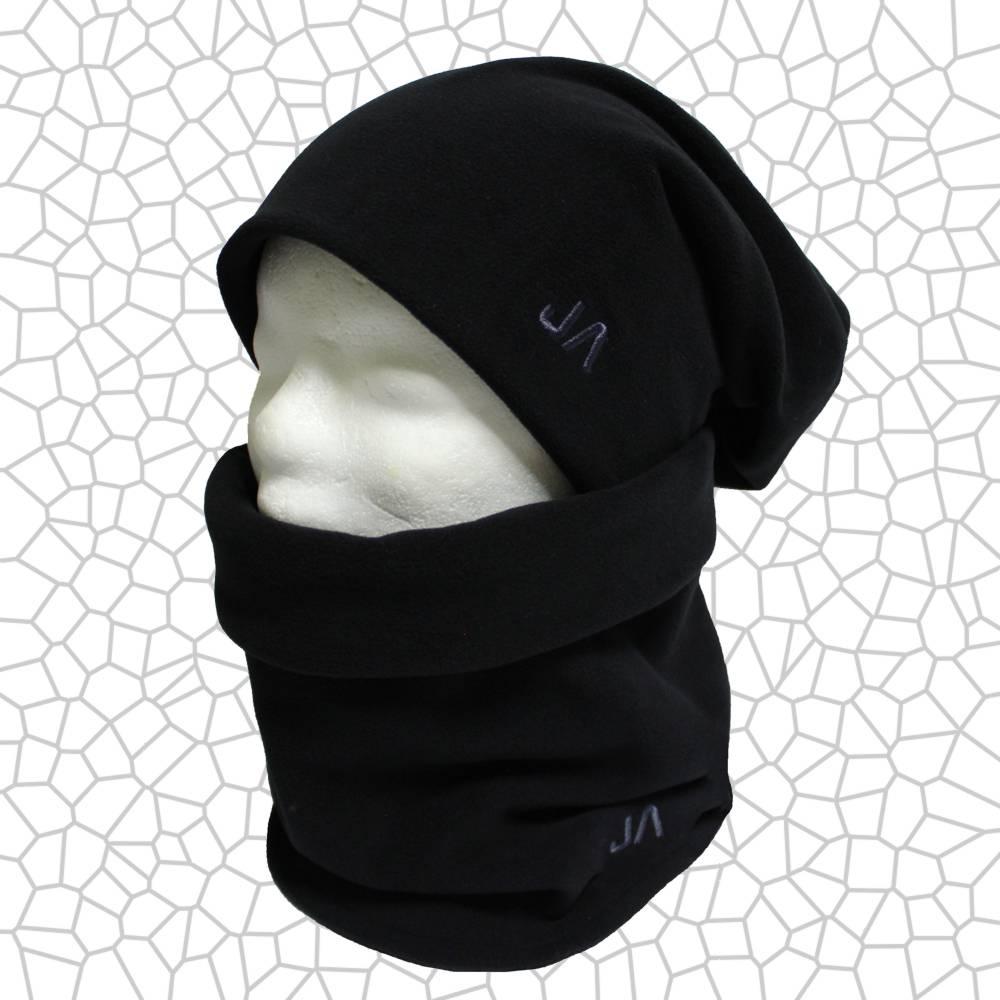 Set Loop Halswärmer Sportfleece schwarz mit Monogramm Mütze zum Wenden Bild 1