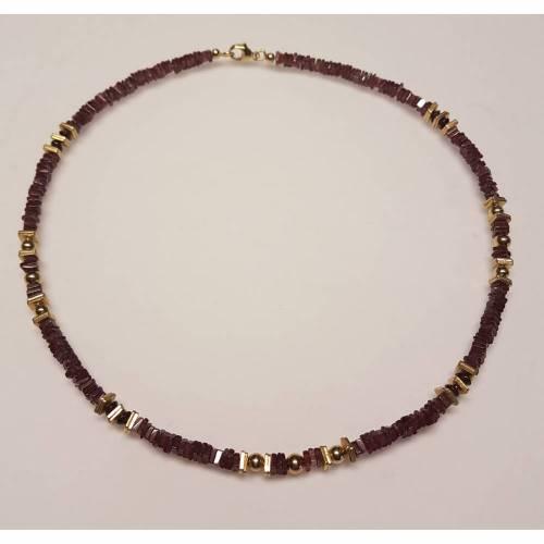 Edelsteinkette aus südafrikanischem Granat mit Sterlingsilber - Elementen
