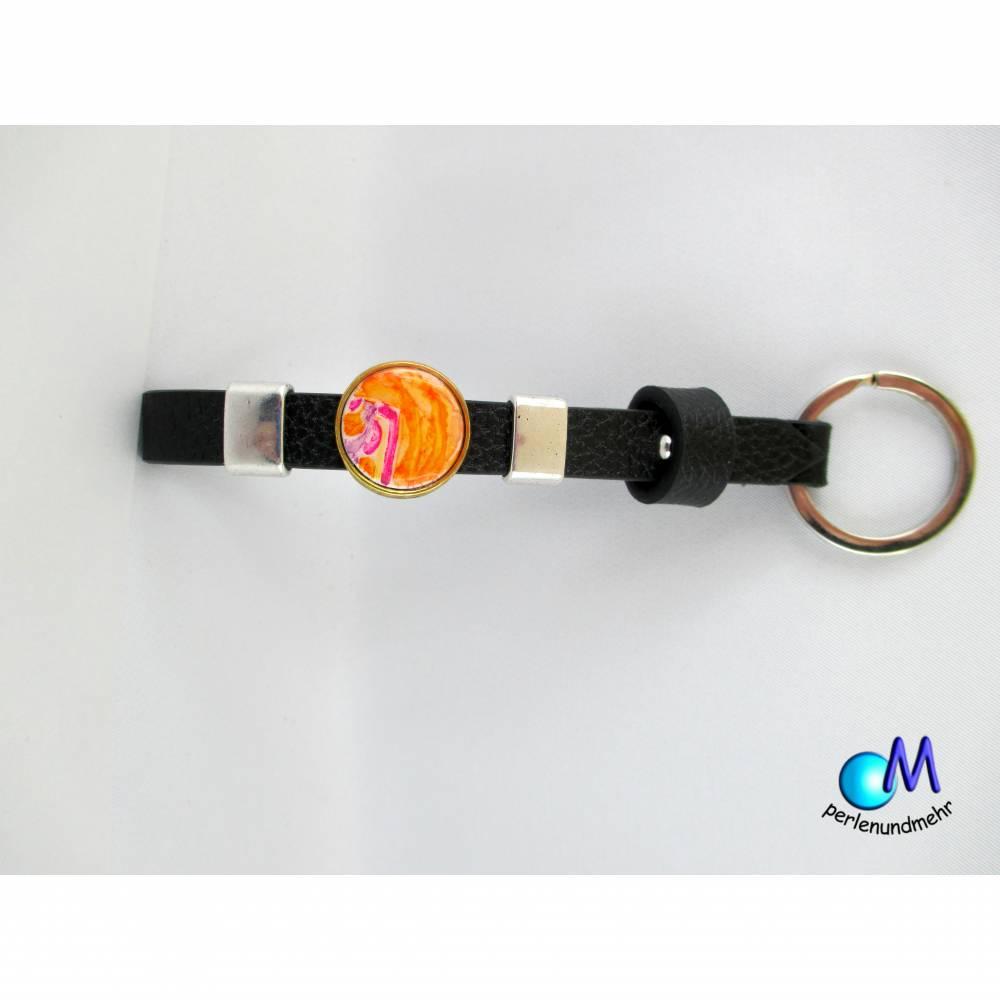 Schiebeperlen  Schlüsselanhänger Handarbeit Orange-Motiv pearl  Schiebe Perlen  ART 3369 Bild 1