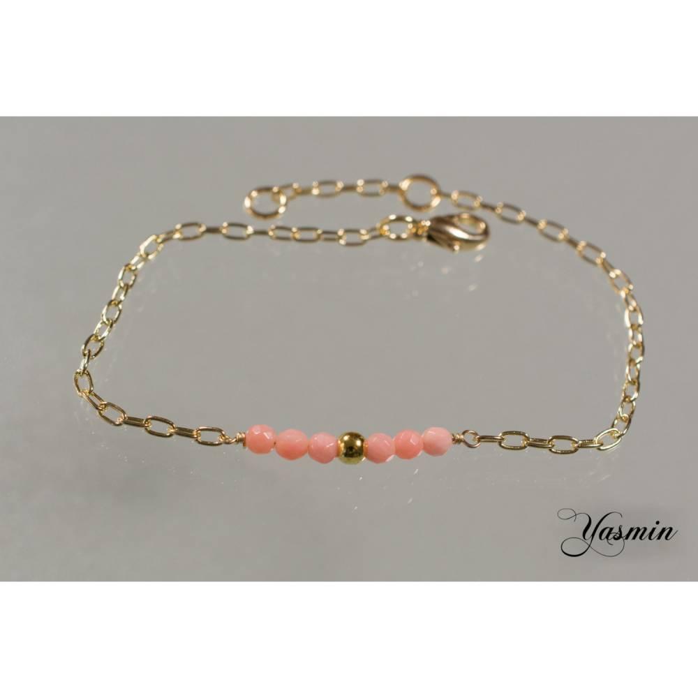 Facettiertes Korallen-Armband goldfilled Bild 1