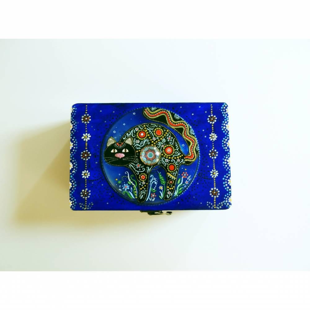 Handbemalte geschnitzte Holzschatulle mit Katze, blau Bild 1
