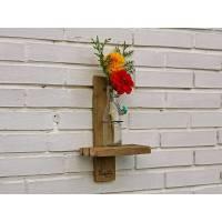 Ungewöhnliche Vase aus Treibholz, und Altglas als Dekoration für die Wand, Upcycling Geschenkidee, kreatives Einzelstück Bild 1