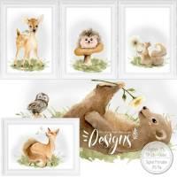 Druckbare Kinderzimmer Bilder Kinder Bild Waldtiere in A4 & A3 |SET 109 Bild 1