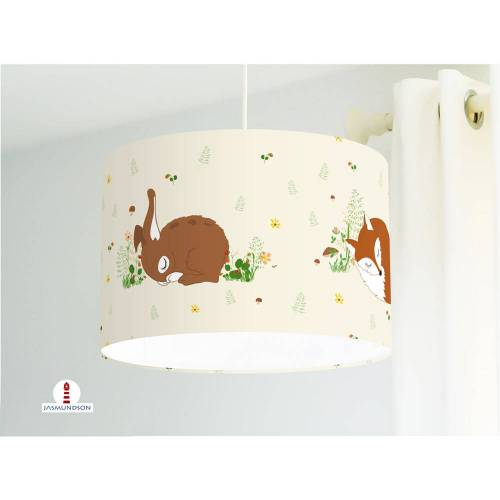 Lampe Kinderzimmer Wald Tiere  aus Baumwollstoff - alle Farben möglich