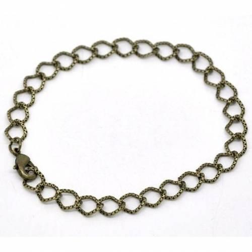 Armband, Gliederarmband, bronze, Vintage-Stil, Karabinerverschluss, 20 cm , 14247