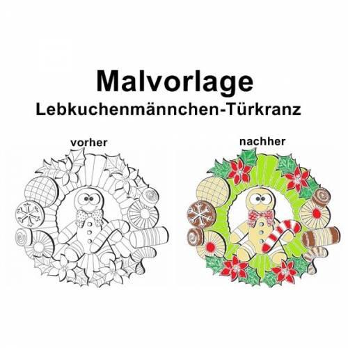 Malvorlage Lebkuchenmännchen-Türkranz - PDF Datei