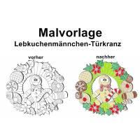 Malvorlage Lebkuchenmännchen-Türkranz - PDF Datei Bild 1