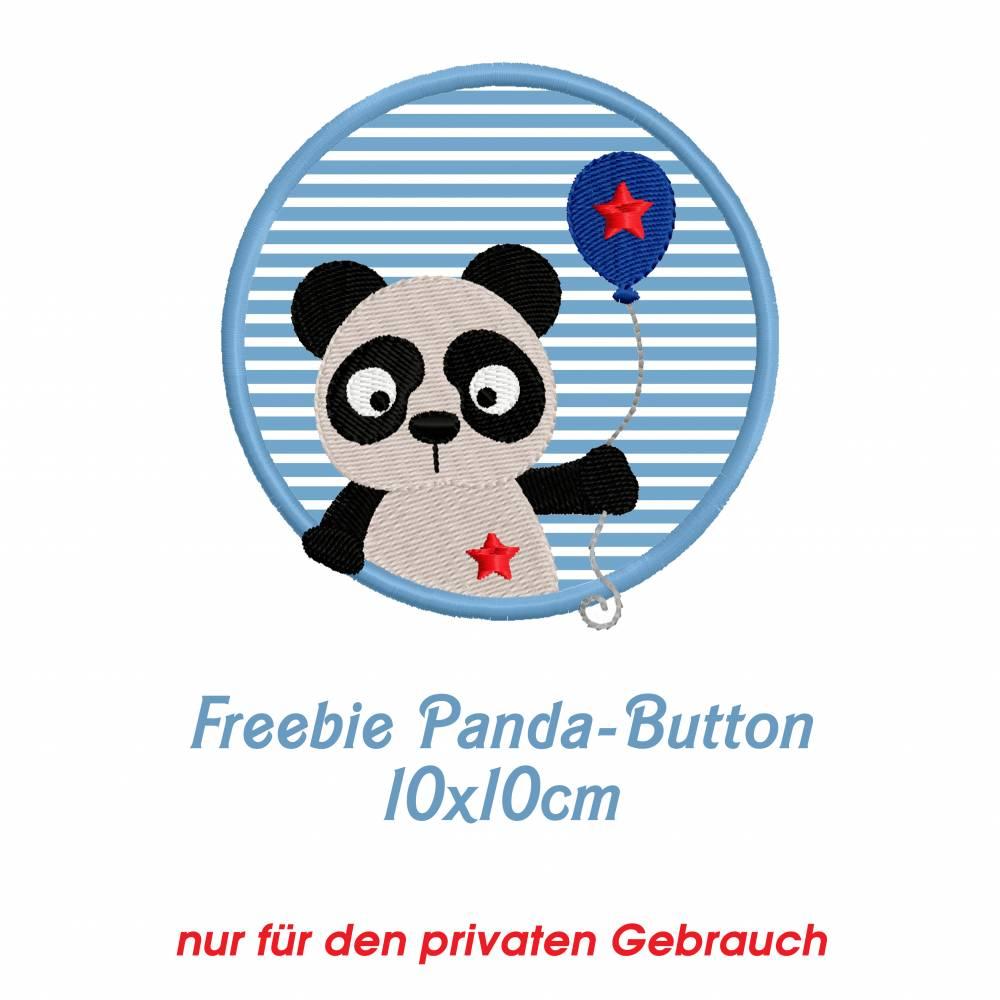 Freebie -Kostenlose Stickdatei Pandabutton 10x10cm Bild 1