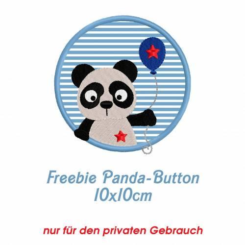Freebie -Kostenlose Stickdatei Pandabutton 10x10cm