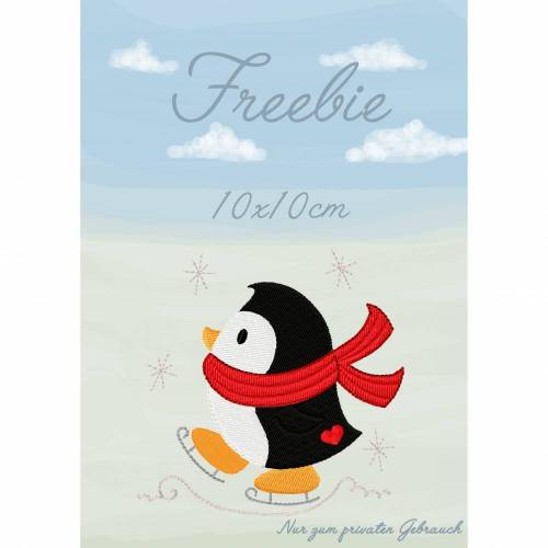 Freebie -Kostenlose Stickdatei Pingui 10x10cm