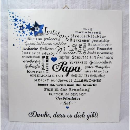 Papa Papi Vater Vati Bild Wandbild Wortherz liebe Worte Geschenkidee Sterne Blau Weihnachten Weihnachtsgeschenk Geschenk Vatertag