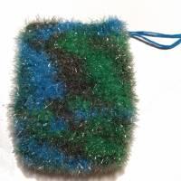 Seifensäckchen, Seifensack, Seifenbeutel, Seifennetz, blau-grün, Peeling,  Bild 1