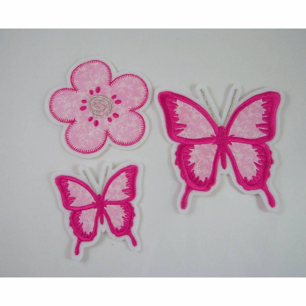 Schmetterling-Blume- Applikation, einzeln oder Set Bild 1