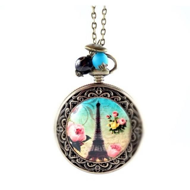 Kettenuhr, Uhr, Damenuhr,Uhrenkette,  Paris, Eiffelturm, Liebe Bild 1