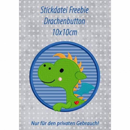 Freebie -Kostenlose Stickdatei Drachenbutton 10x10cm
