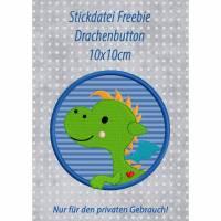Freebie -Kostenlose Stickdatei Drachenbutton 10x10cm Bild 1