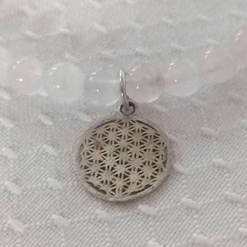 Rosenquarzkette mit Herz und echt silber Anhänger - Blume des Lebens