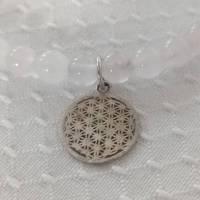 Rosenquarzkette mit Herz und echt silber Anhänger - Blume des Lebens Bild 1