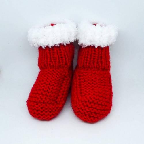 Babyschuhe, Nikolausstiefel, Weihnachtsstiefel in rot und weiß, Fußsohlenlänge 10 cm