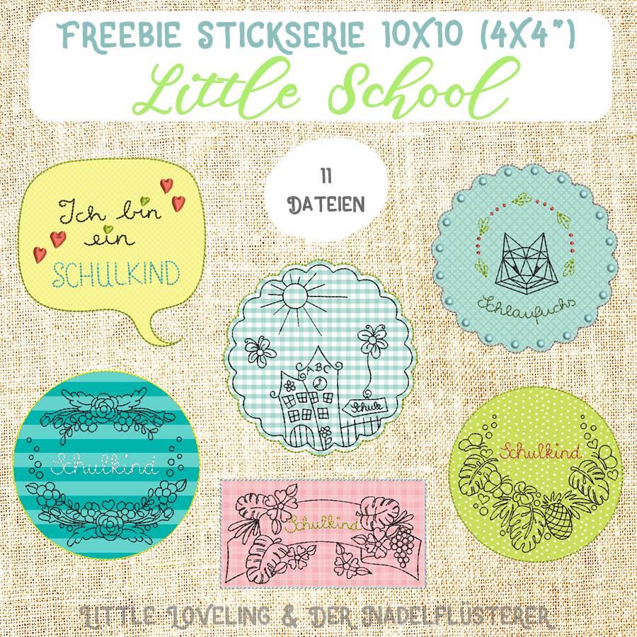 """FREEBIE Digitale Stickserie  """"Little School"""" für den 10x10 cm (4x4"""") Stickrahmen Bild 1"""