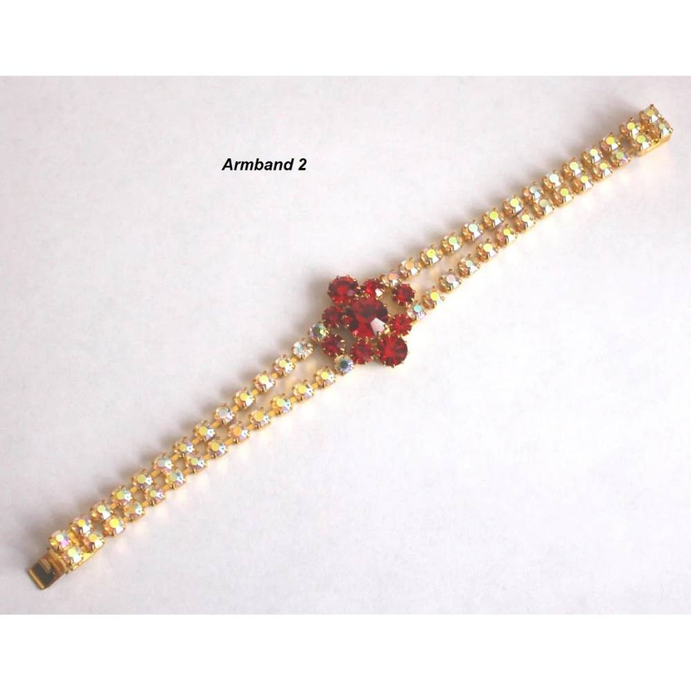 Vintage Armband Strass Schmuck Armschmuck silber gold AB Aurore Boreale, rot Modeschmuck Glasstrass Gablonz Böhmen Bild 1