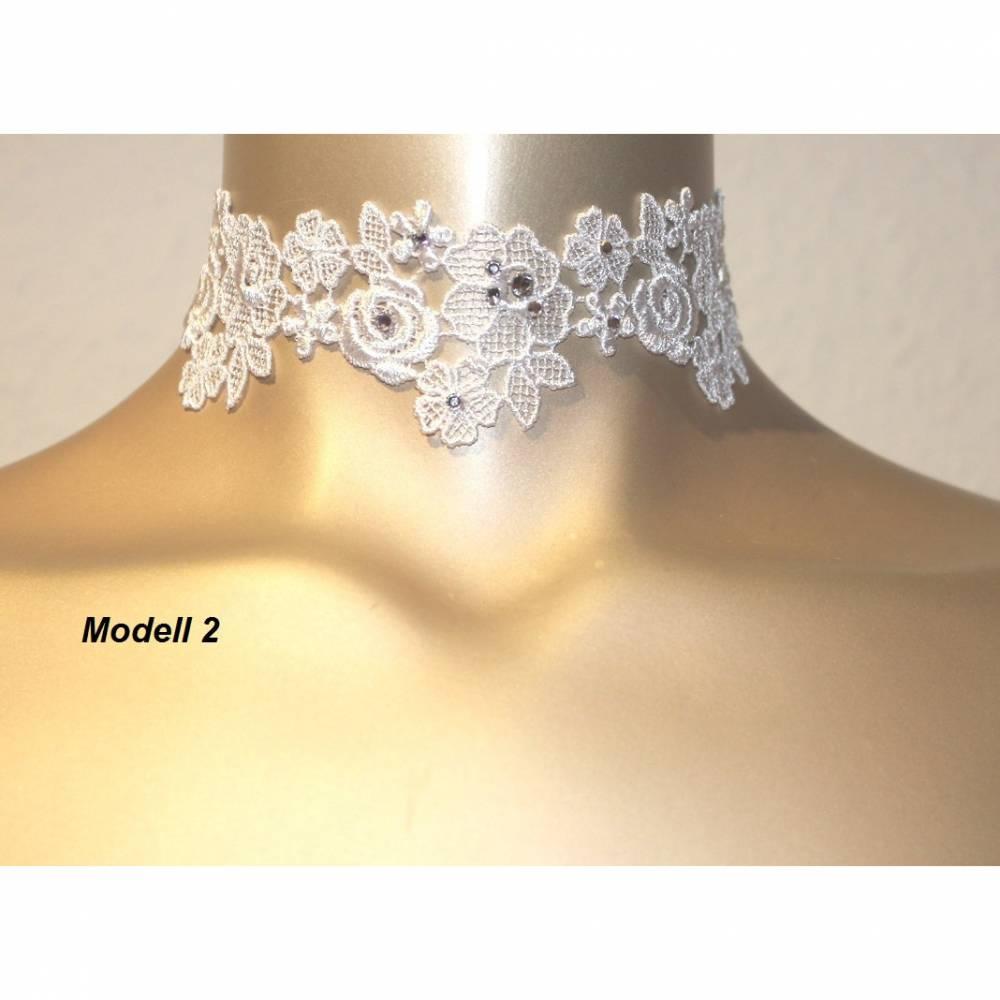 Halsband Choker Hochzeit Spitze weiß Swarovski Elements Strass-Steine klar Bild 1