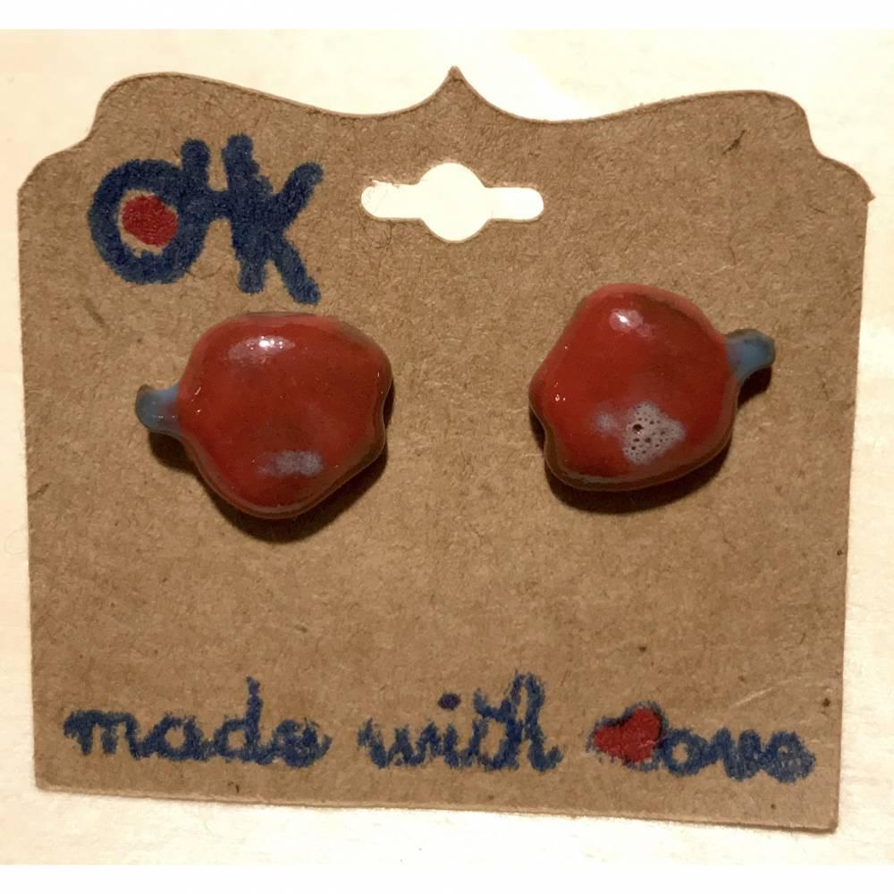 "Keramik Ohrstecker ""Apfel""  Bild 1"