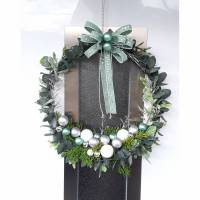 MODERNER TÜRKRANZ KRANZ mint grau silber weiss Advent Weihnachten Eukalyptus UNIKAT Bild 1