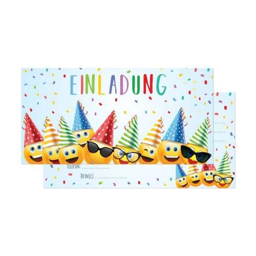12 Smiley Einladungskarten zum Geburtstag - Party Emoji - Smiley Emoji Geburtstag - inkl. passende Umschläge