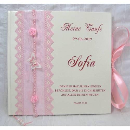 Gästebuch zur Taufe Taufgästebuch mit Namen personalisiert, Taufbuch Mädchen Rosa Schmetterling Rose Taufgeschenk Taufalbum Gedächtnisbuch