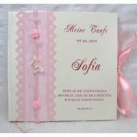 Gästebuch zur Taufe Taufgästebuch mit Namen personalisiert, Taufbuch Mädchen Rosa Schmetterling Rose Taufgeschenk Taufalbum Gedächtnisbuch Bild 1