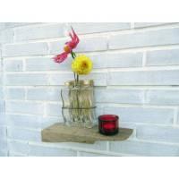 Einzigartige Vase aus Treibholz und Altglas als Dekoration für die Wand, Upcycling Geschenkidee, kreatives Einzelstück, Blumendekoration Bild 1