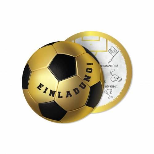 12 Fußball Einladungskarten zum Geburtstag - Fußball GOLD - Fussball Party - Kindergeburtstag