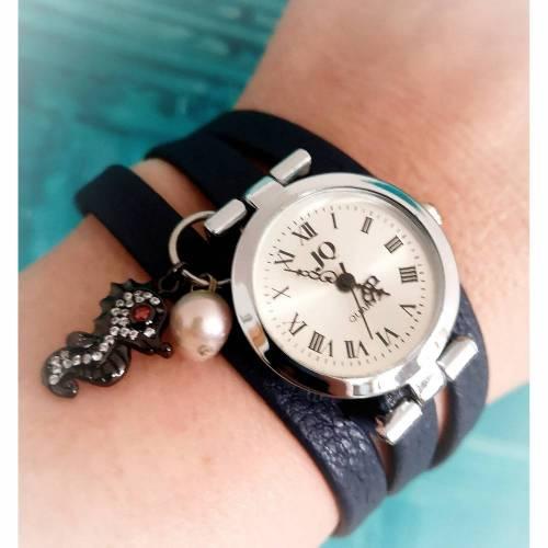 Armbanduhr,Wickeluhr, Uhr, Kunstleder,  Seepferdchen, Zuchtperle