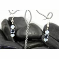 Wunderschöne elegante Ohrringe, weiß & hämatitf. - zauberhafte Kristalle und funkelnde Glasrondelle - Ohrhänger grau / weiß Bild 1