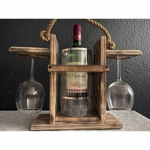 VinoPAXDUO. VintageWhite. Tragbarer Weinträger Weinkühler Weinhalter Getränkehalter. Aus Naturholz. Gebeizt und versiegelt. Segeltau und Bootsklampen bzw. Messingbeschlägen. Mit LED-Beleuchtung und Fernbedienung.