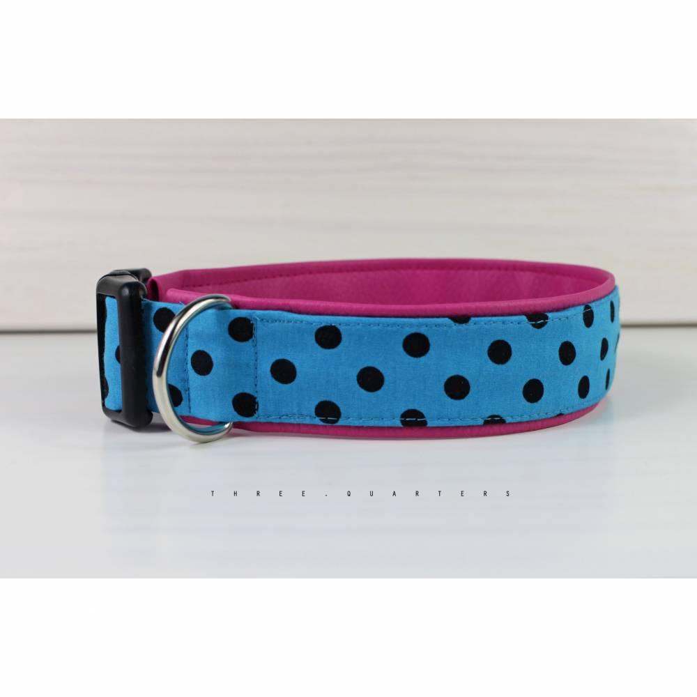 Hundehalsband mit Punkten in schwarz , mit Kunstleder in rosa Bild 1