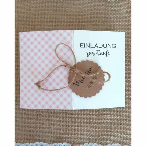 Einladungskarte Danksagung zur Taufe Babyparty Babyshower Karo vintage rosa