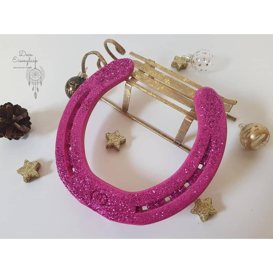 Hufeisen als Glücksbringer mit Glitzer in pink, Mädchentraum, Deko, Schmuck, Geschenk Bild 1