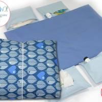 Wickelunterlage als Wickeltasche XL Blätter blau Bild 1