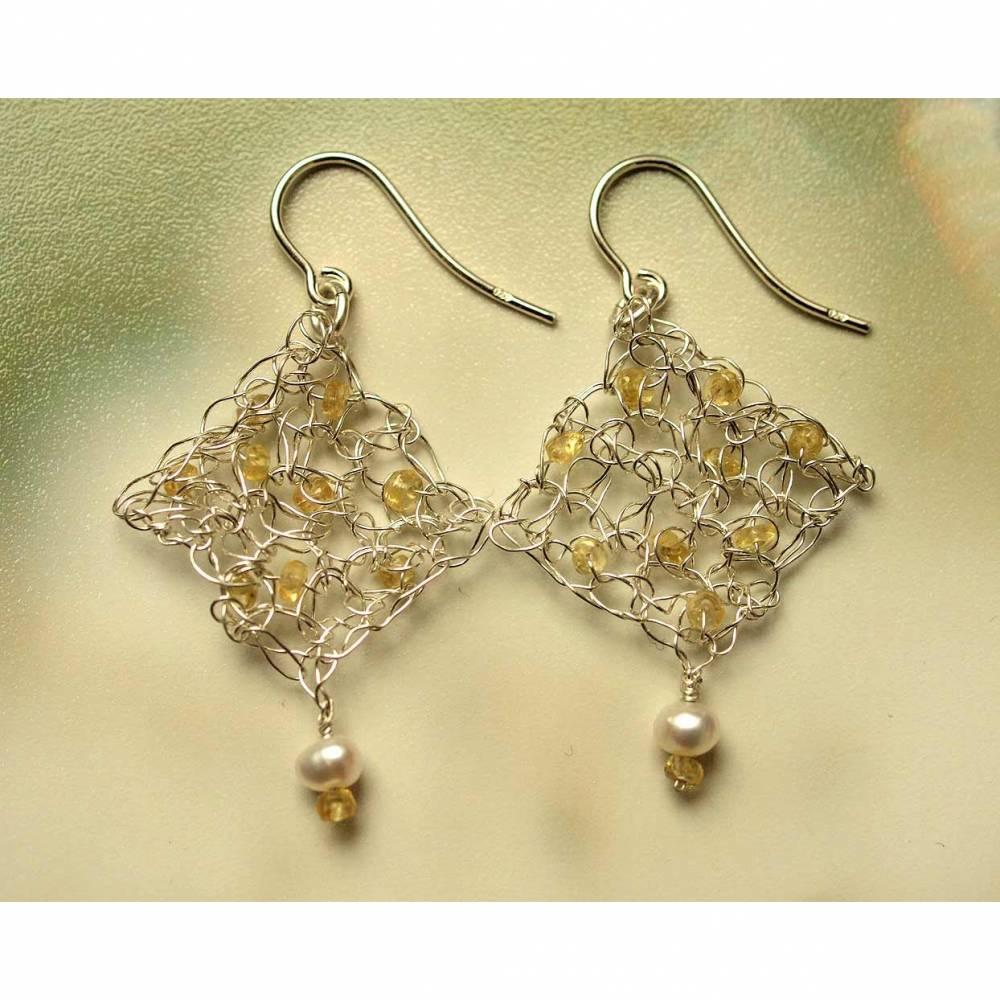Gelber Saphir-Perle-Ohrhänger, Silber Bild 1
